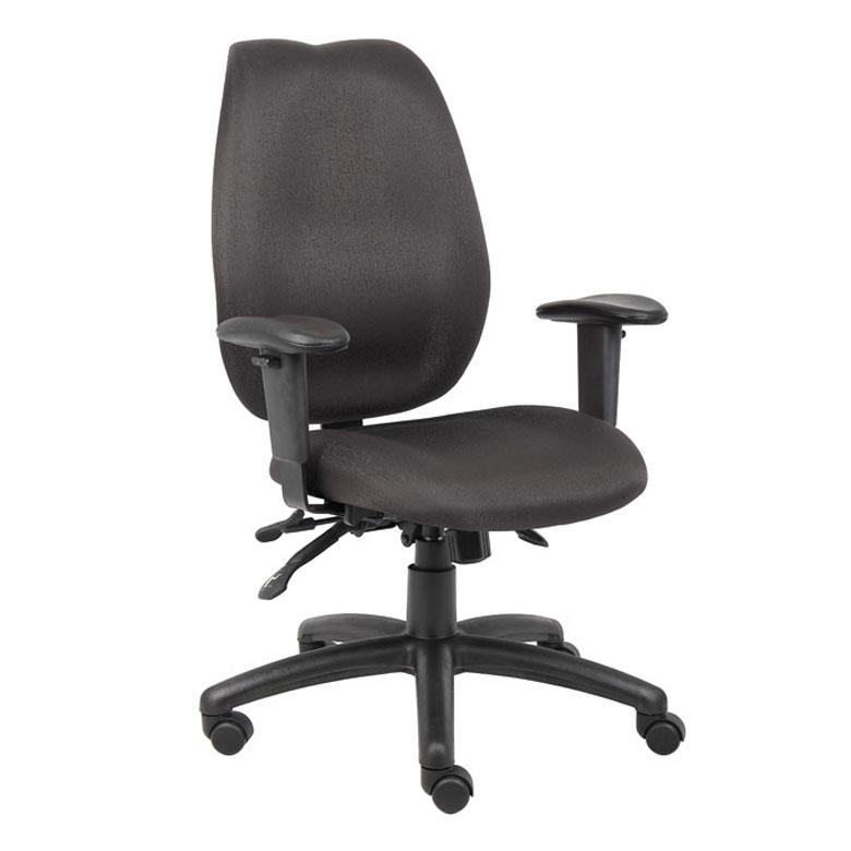 boss black high back task chair w seat slider bosschair