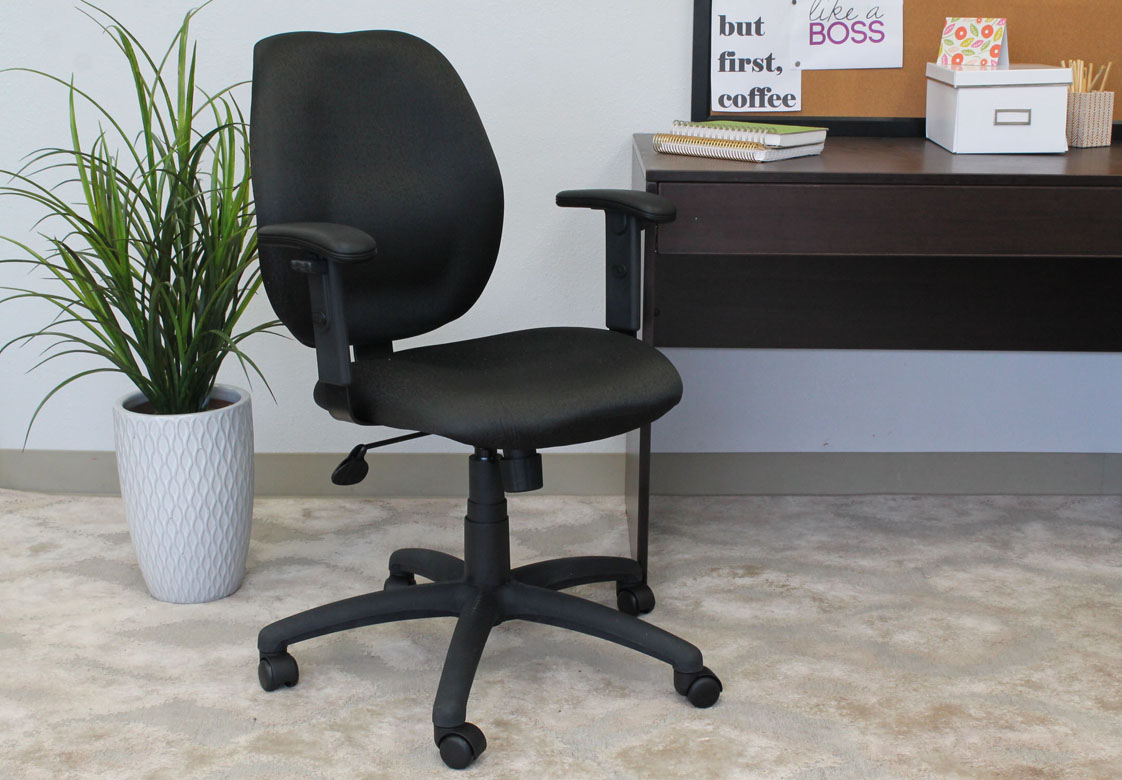 Boss Mid Back Task Chair With Adjustable Arms Black