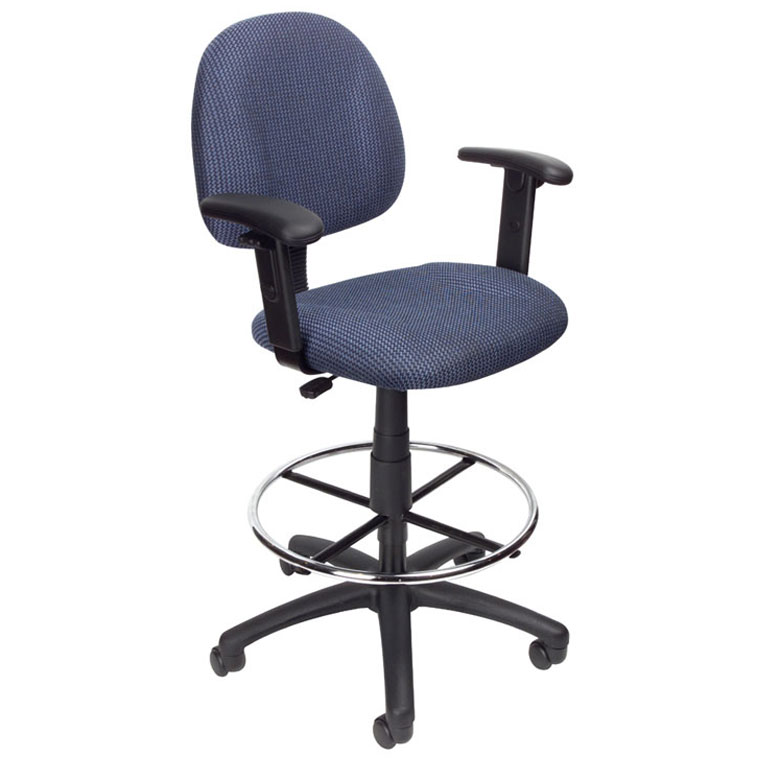 Boss Ergonomic Works Adustable Drafting Chair With Adjustable Arms And  Removable Foot Rest, Blue