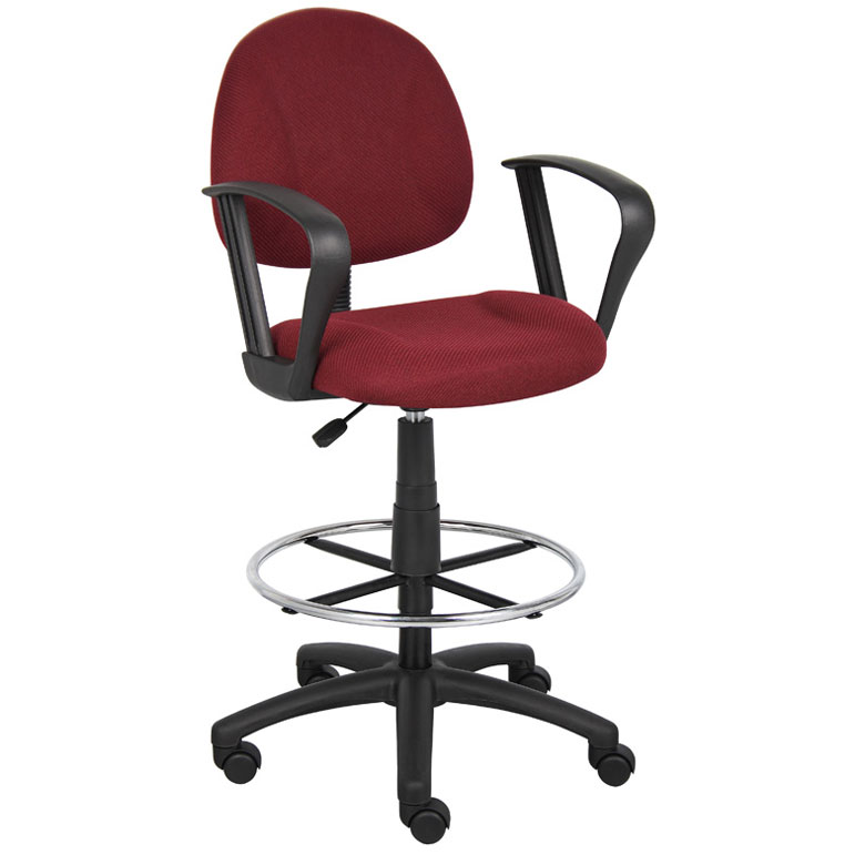 Boss Ergonomic Works Adustable Drafting Chair with Loop Arms and Removable Foot Rest Burgundy  sc 1 st  Boss Office Products & Boss Ergonomic Works Adustable Drafting Chair with Loop Arms and ...