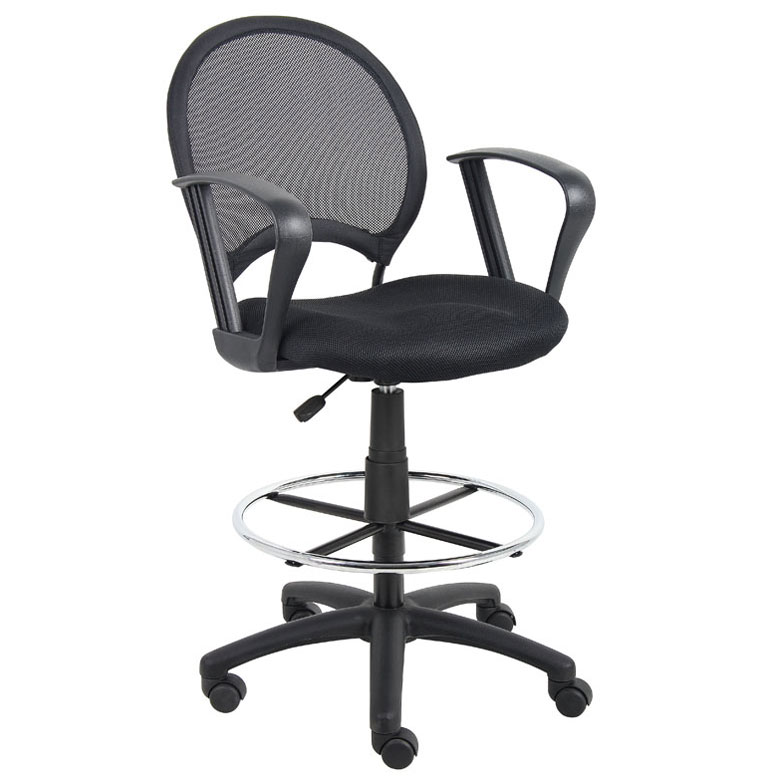 boss mesh drafting stool w loop arms bosschair