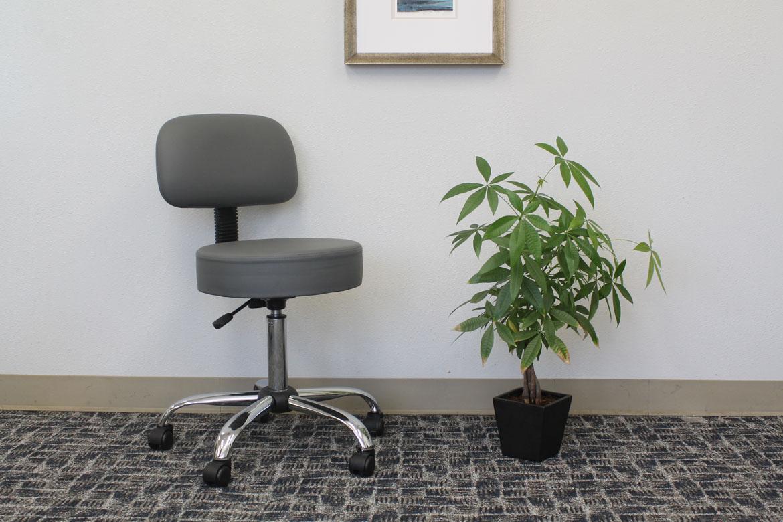Boss Grey Caressoft Medical Stool W Back Cushion Bosschair