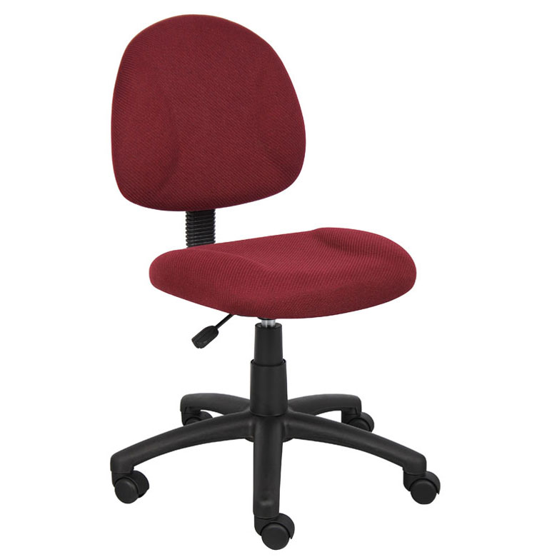 Boss Perfect Posture Deluxe Office Task Chair Without Arms Burdy