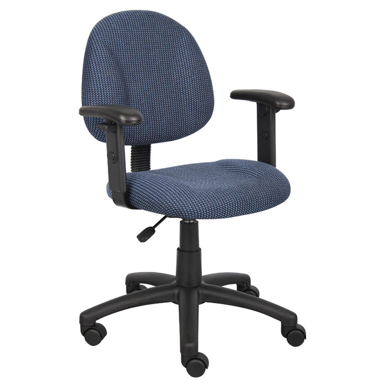 blue task chair. Boss Perfect Posture Deluxe Office Task Chair With Adjustable Arms, Blue