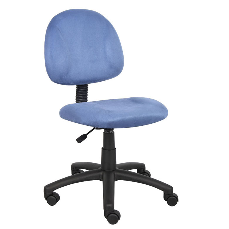 Boss Perfect Posture Deluxe Modern Microfiber Home Office Chair Without Arms Blue
