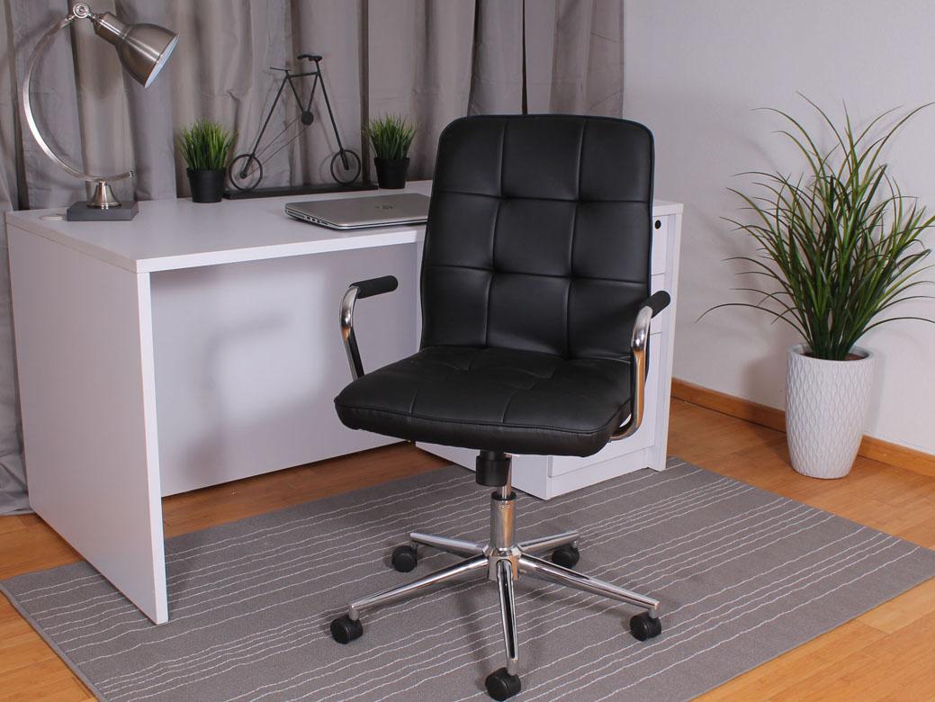 Modern Office Chair W Chrome Arms Black Bosschair