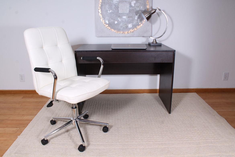 Modern Office Chair W Chrome Arms White Bosschair