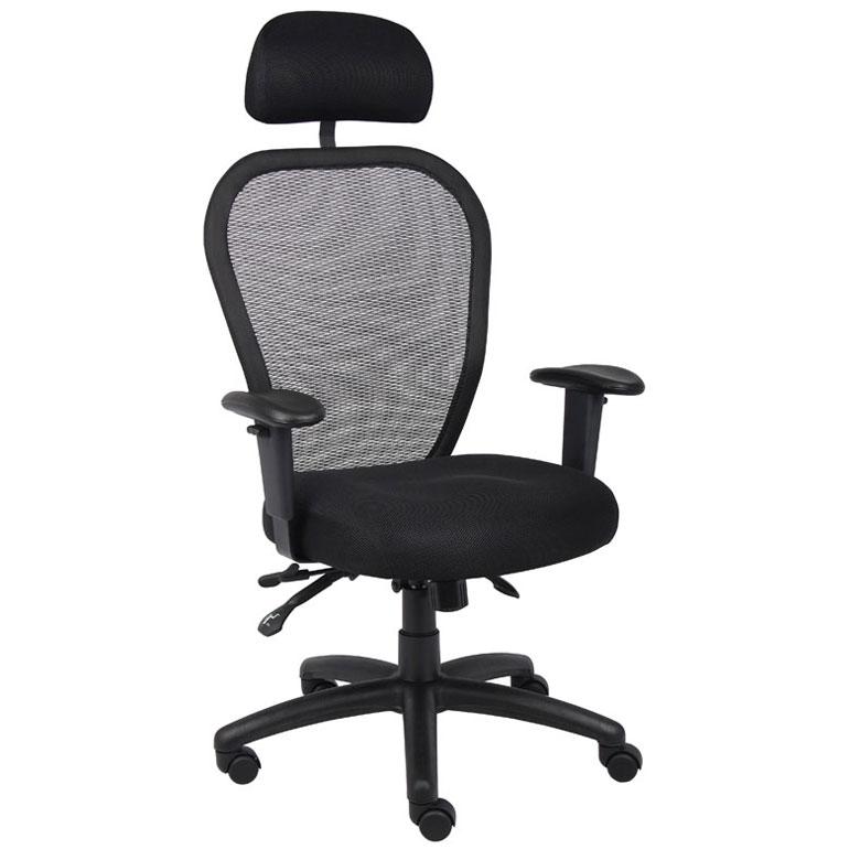 Boss Mesh Chair W 3 Paddle Mech Amp Headrest Bosschair