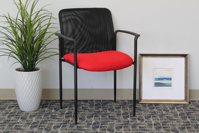 Boss Stackable Mesh Guest Chair Red Bosschair