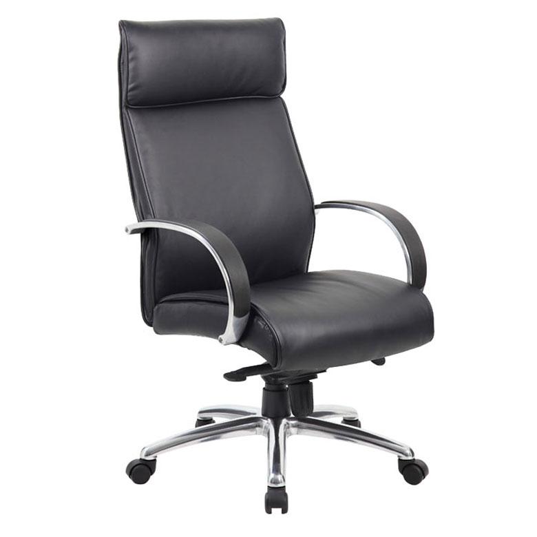 Genial Boss High Back Executive Chair / Aluminum Finish / Black Upholstery / Knee  Tilt