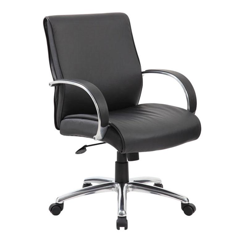 Boss Mid Back Executive Chair Aluminum Finish Black