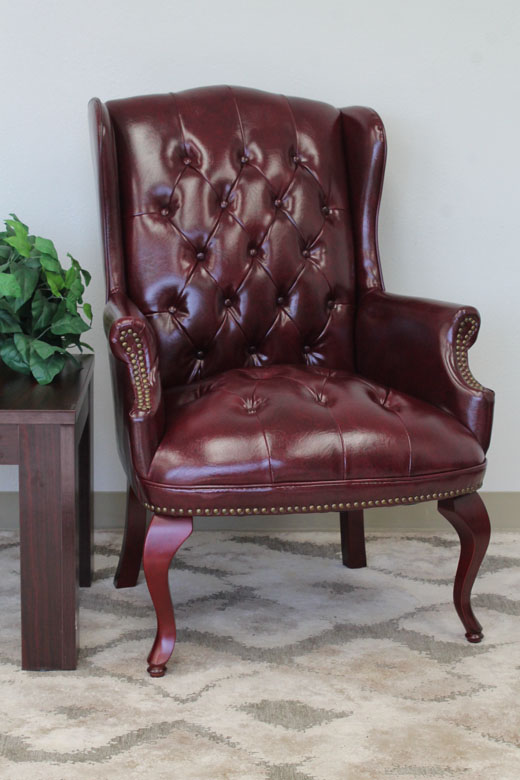 Genial Boss Wingback Traditional Guest Chair In Burgundy