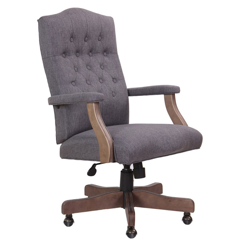 Beau BOSS Executive Slate Grey Commercial Grade Linen Chair With Driftwood  Finish Frame