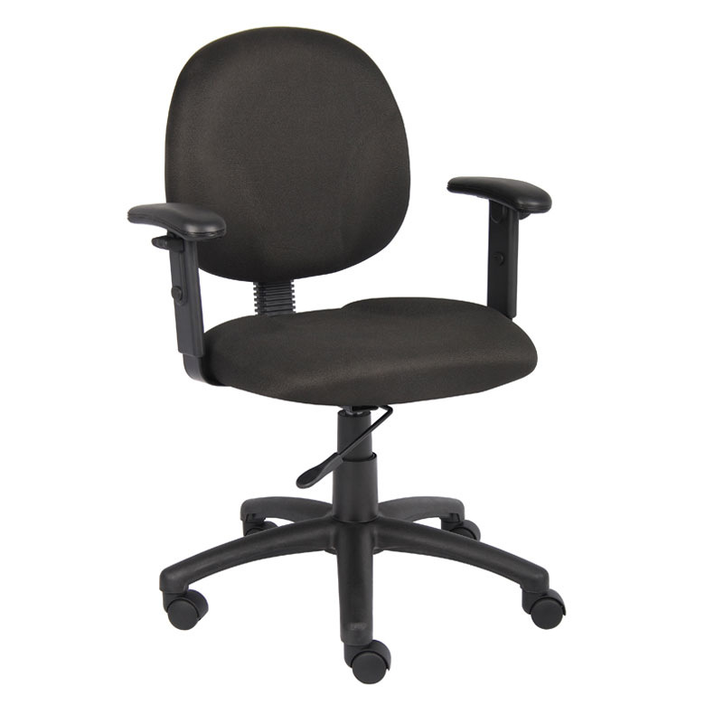 Boss Diamond Task Chair In Black W Adjustable Arms