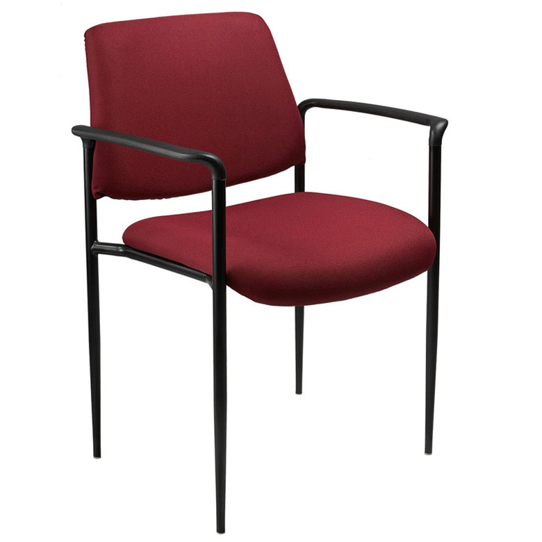Boss Square Back Diamond Stacking Chair W Arm In Burgundy