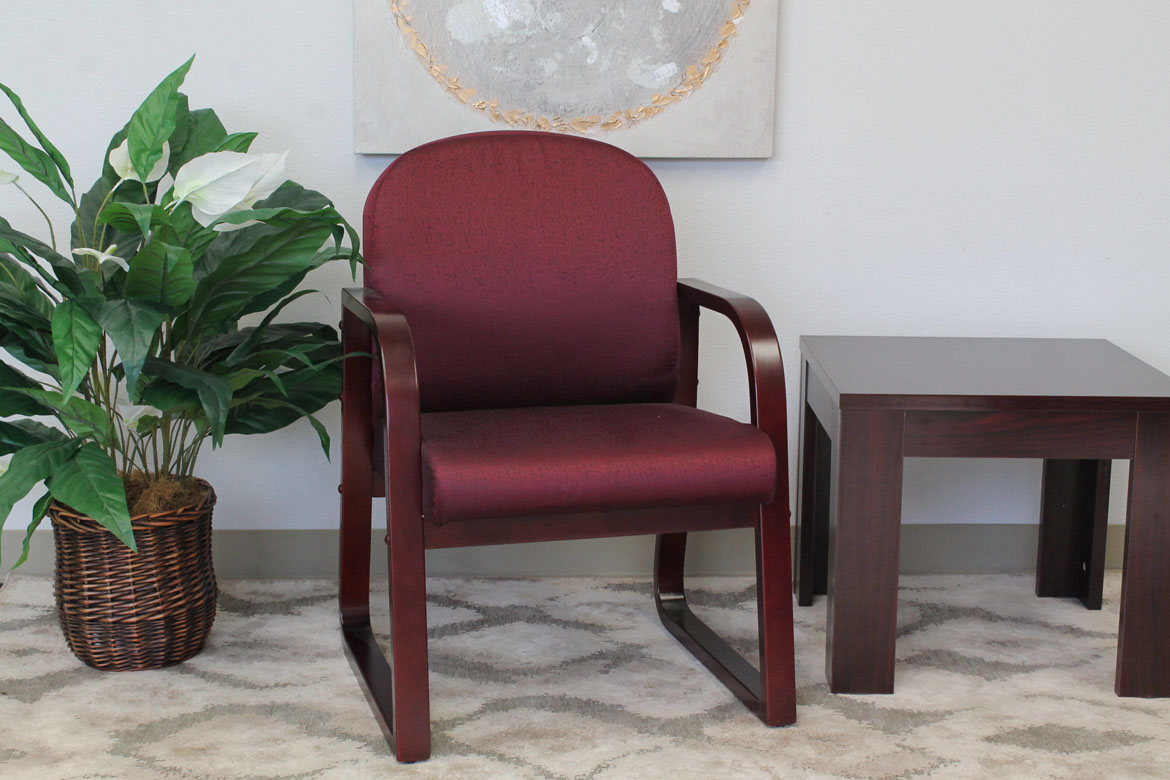 Boss Mahogany Frame Side Chair In Burgundy Fabric Bosschair
