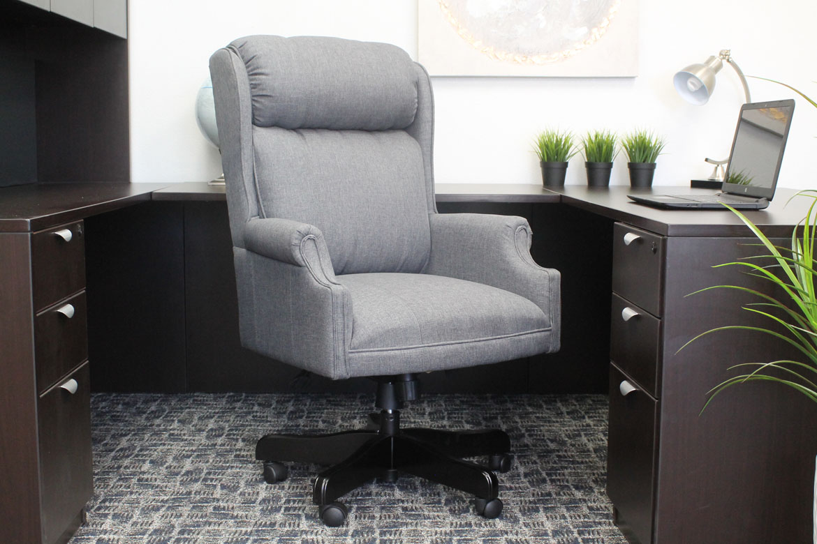 Boss High Back Slate Grey Commercial Grade Linen Chair