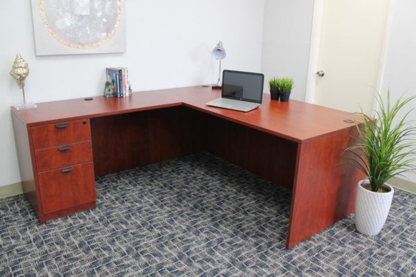 the latest e40a2 06718 Boss Holland Series 71 Inch Executive L-Shape Corner Desk with File Storage  Pedestal, Cherry