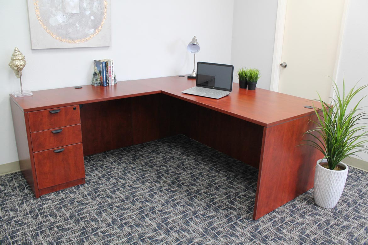Boss Holland Series 71 Inch Executive L Shape Corner Desk With File Storage Pedestal Cherry Bosschair