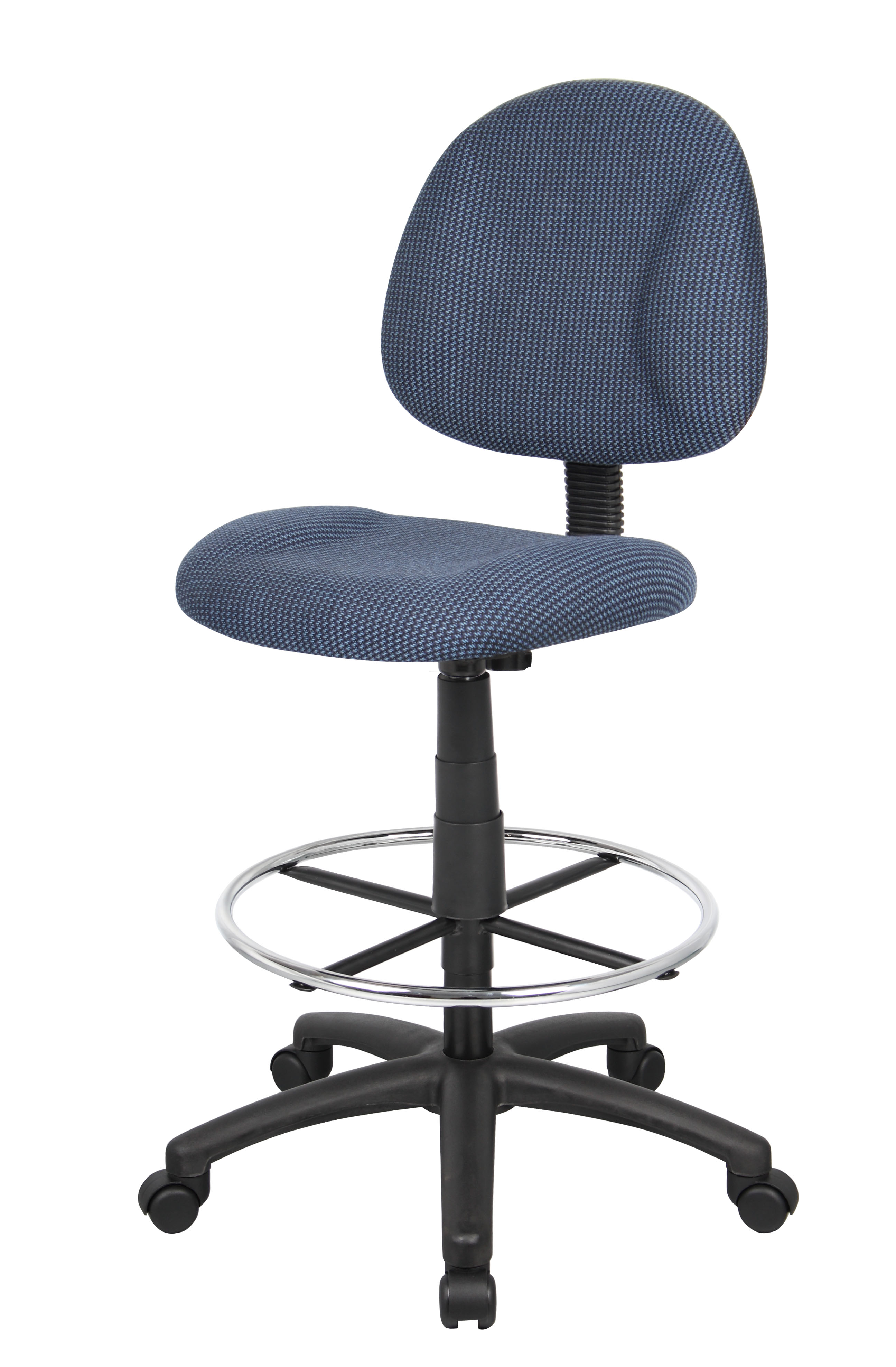 Boss Ergonomic Works Adustable Drafting Chair Without Arms, Blue