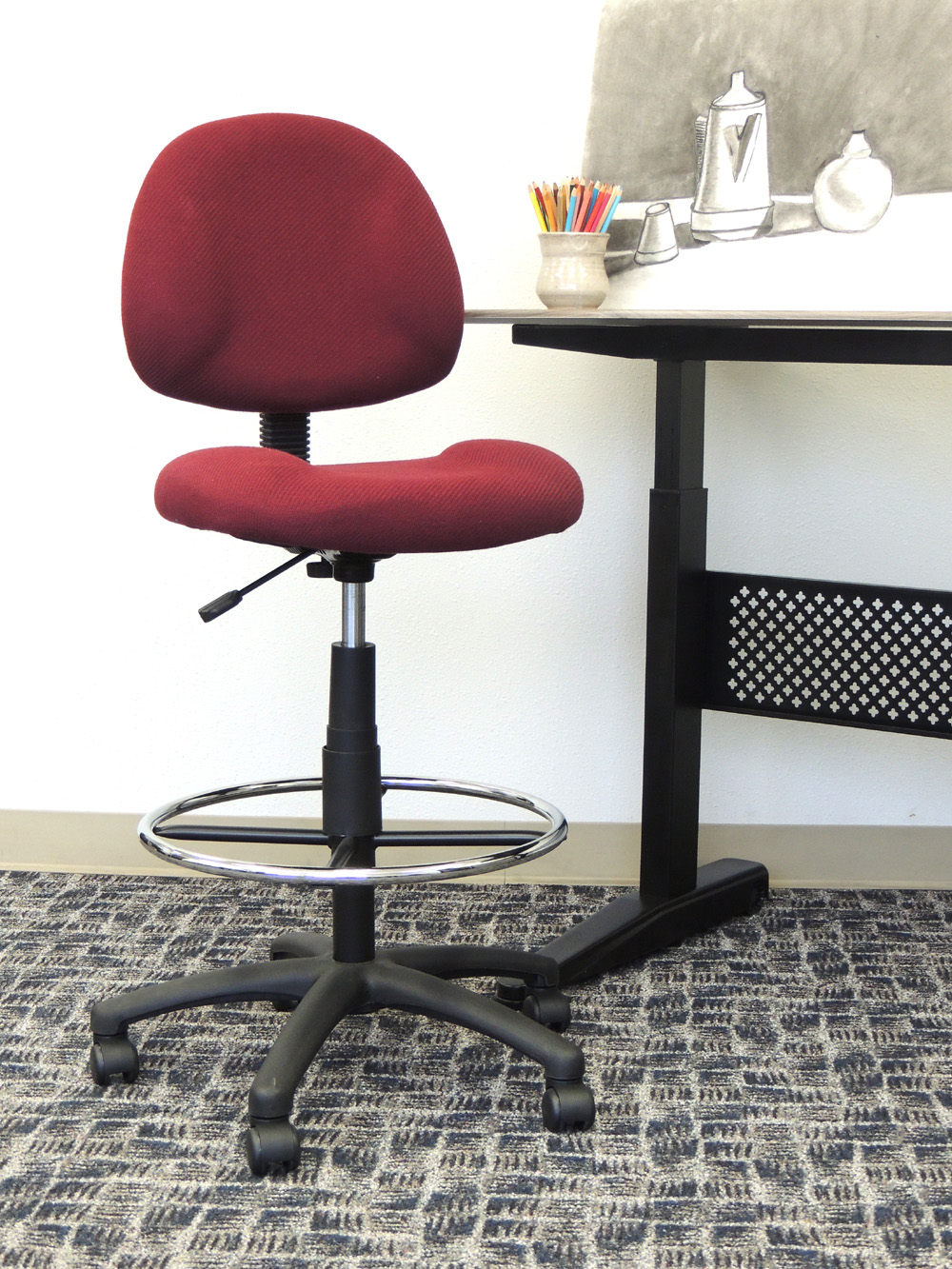 Boss Ergonomic Works Adustable Drafting Chair Without Arms