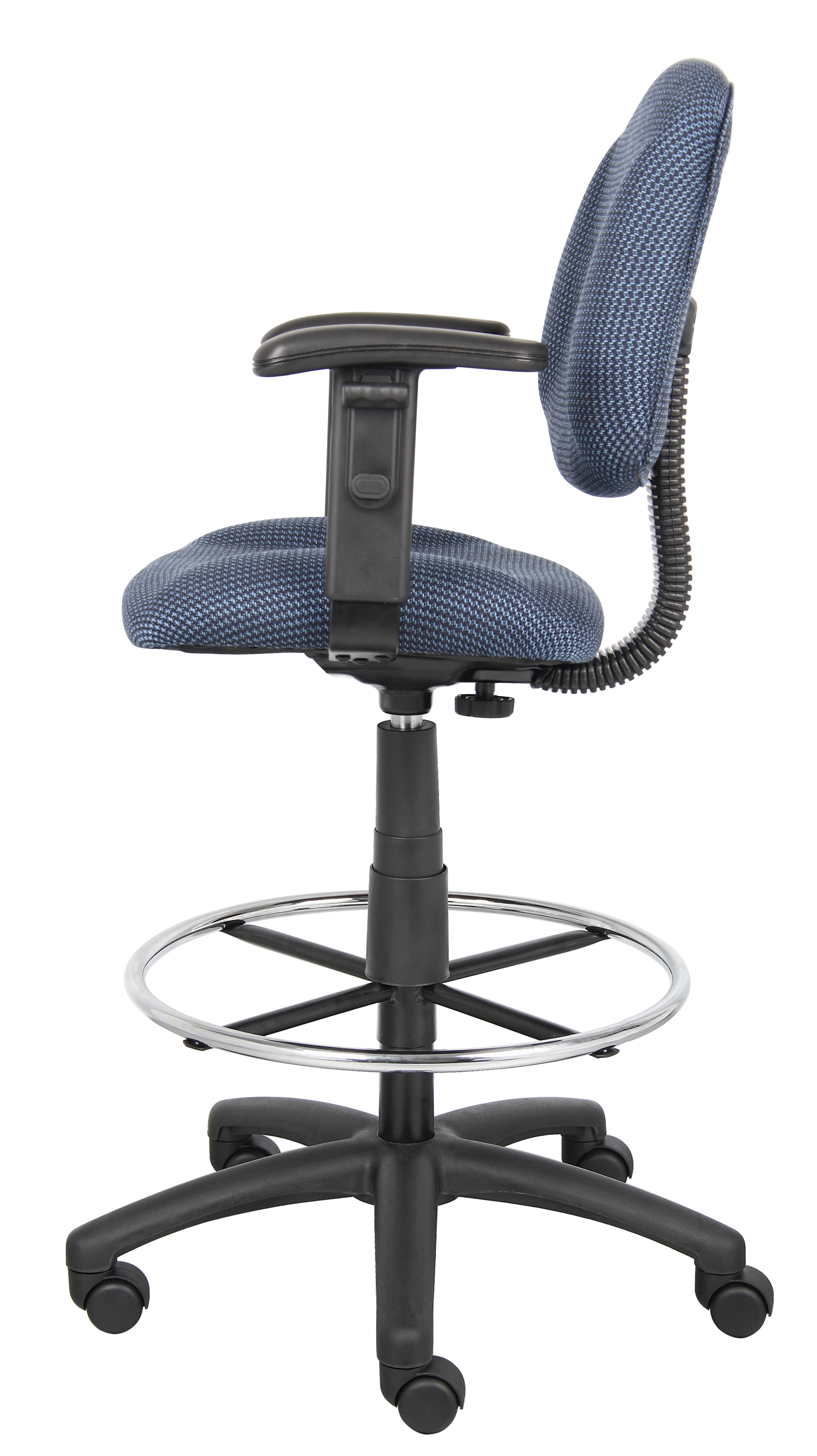 Remarkable Boss Ergonomic Works Adustable Drafting Chair With Adjustable Arms And Removable Foot Rest Blue Creativecarmelina Interior Chair Design Creativecarmelinacom