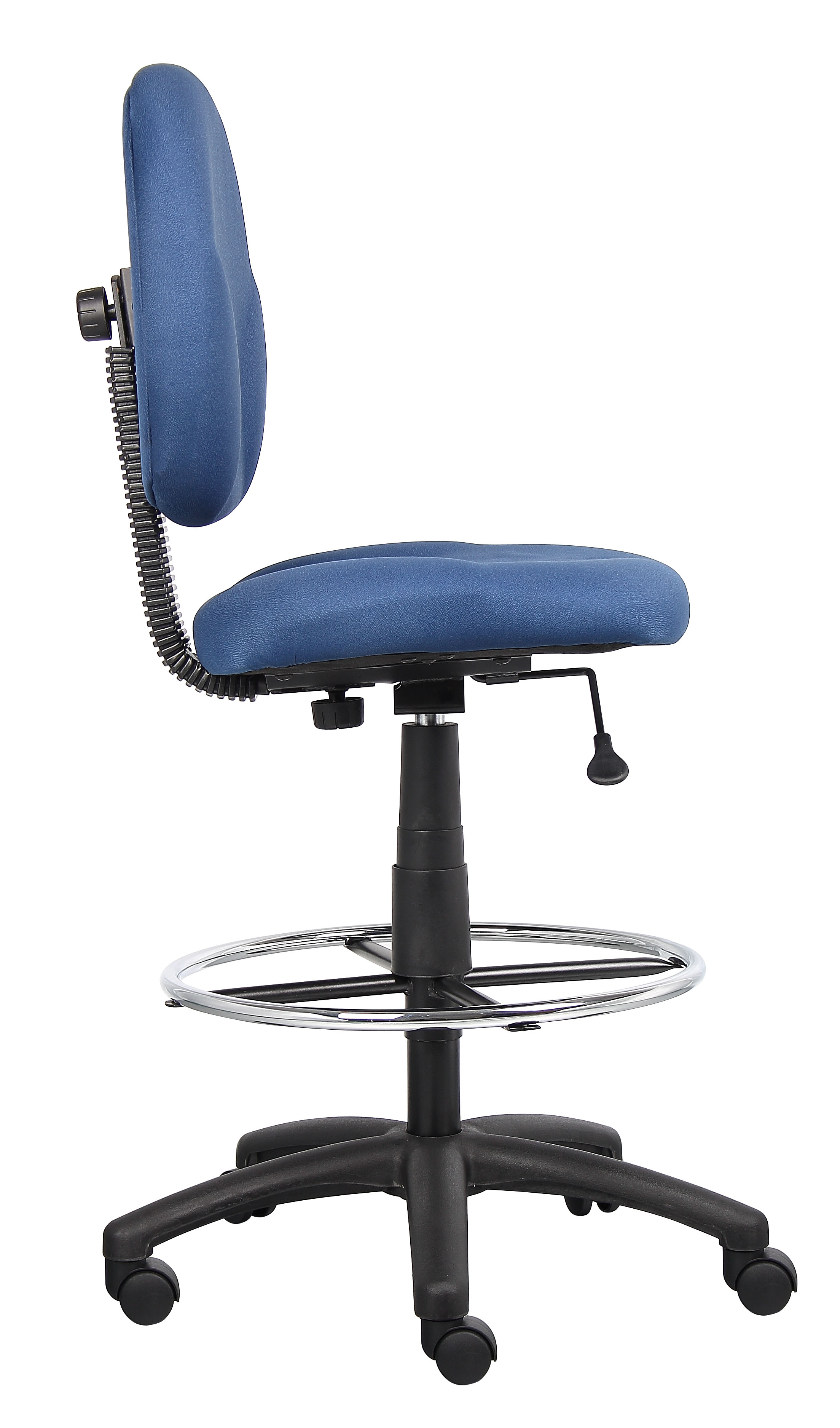 Boss Stand Up Fabric Drafting Stool With Foot Rest Black