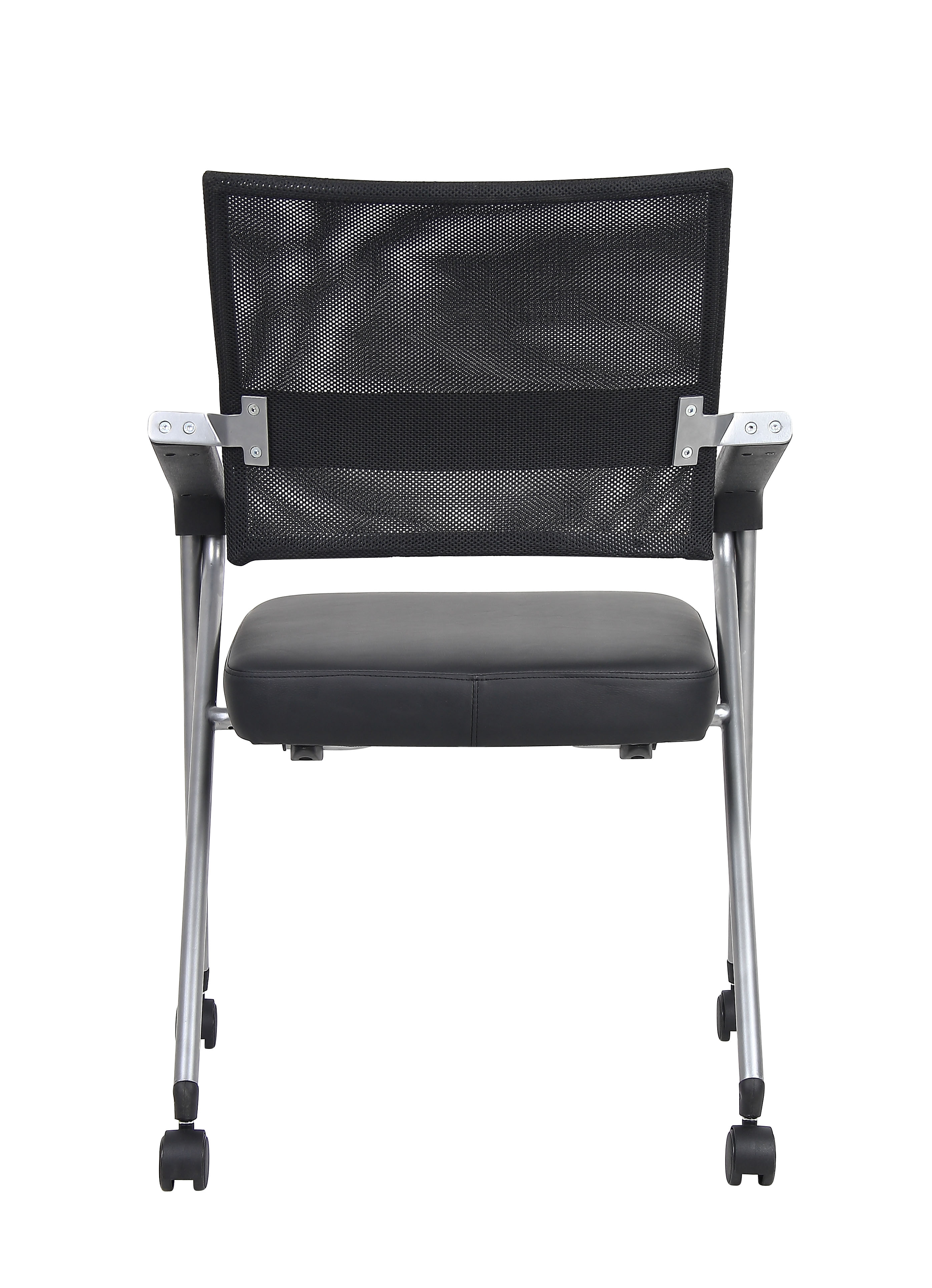 Boss Black Mesh Training Chair With Pewter Frame 2 In A