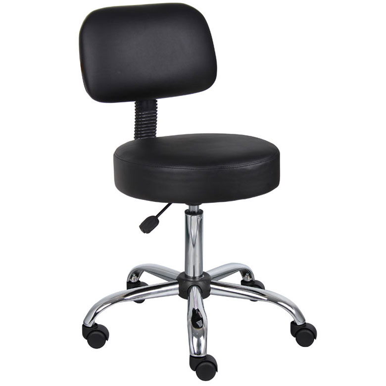 Boss Be Well Medical Spa Professional Adjustable Drafting Stool With Back  And Removable Foot Rest, Black