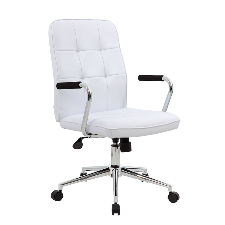 Enjoyable Modern Office Chair W Chrome Arms White Caraccident5 Cool Chair Designs And Ideas Caraccident5Info