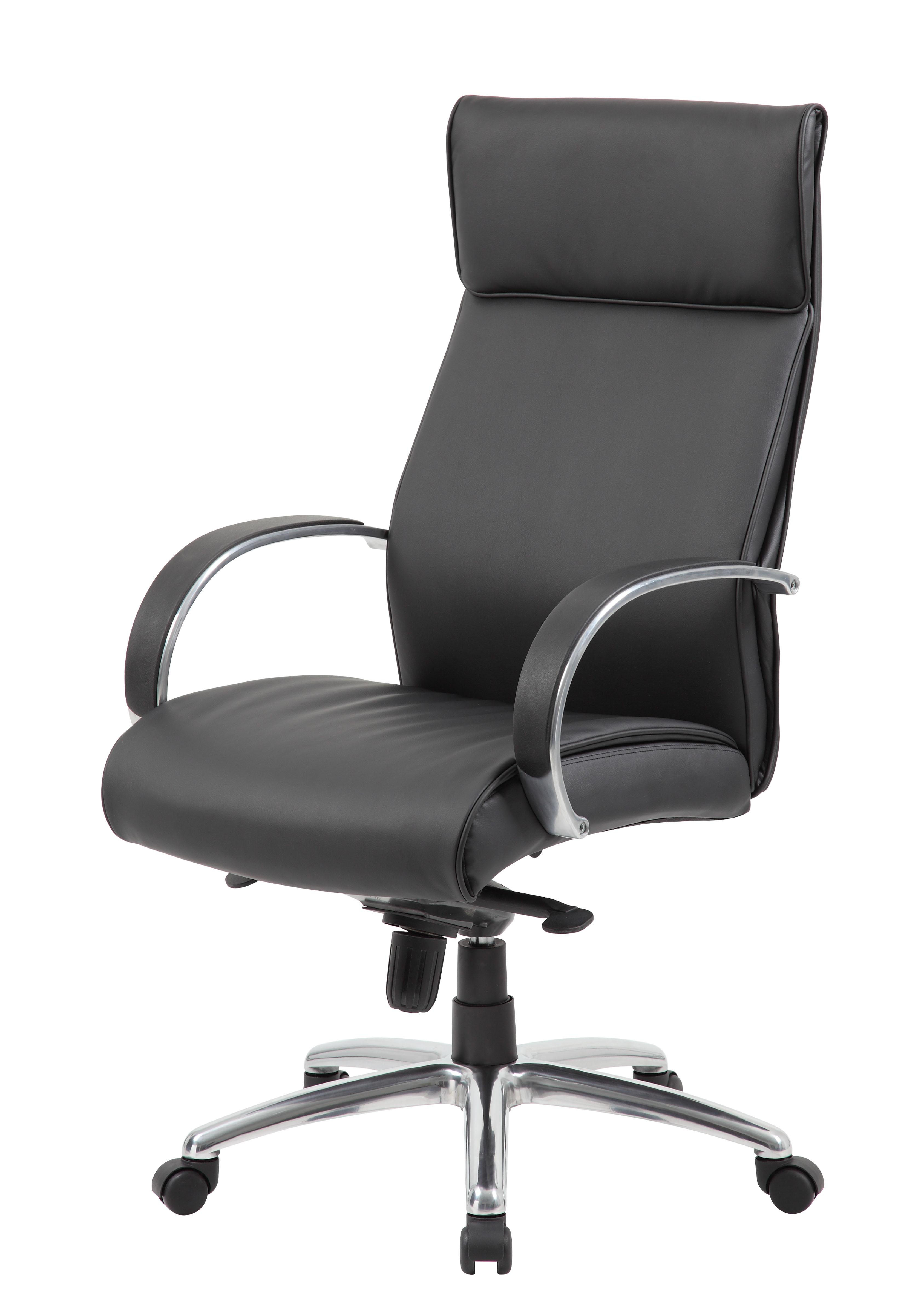 Charmant Boss High Back Executive Chair / Aluminum Finish / Black Upholstery / Knee  Tilt