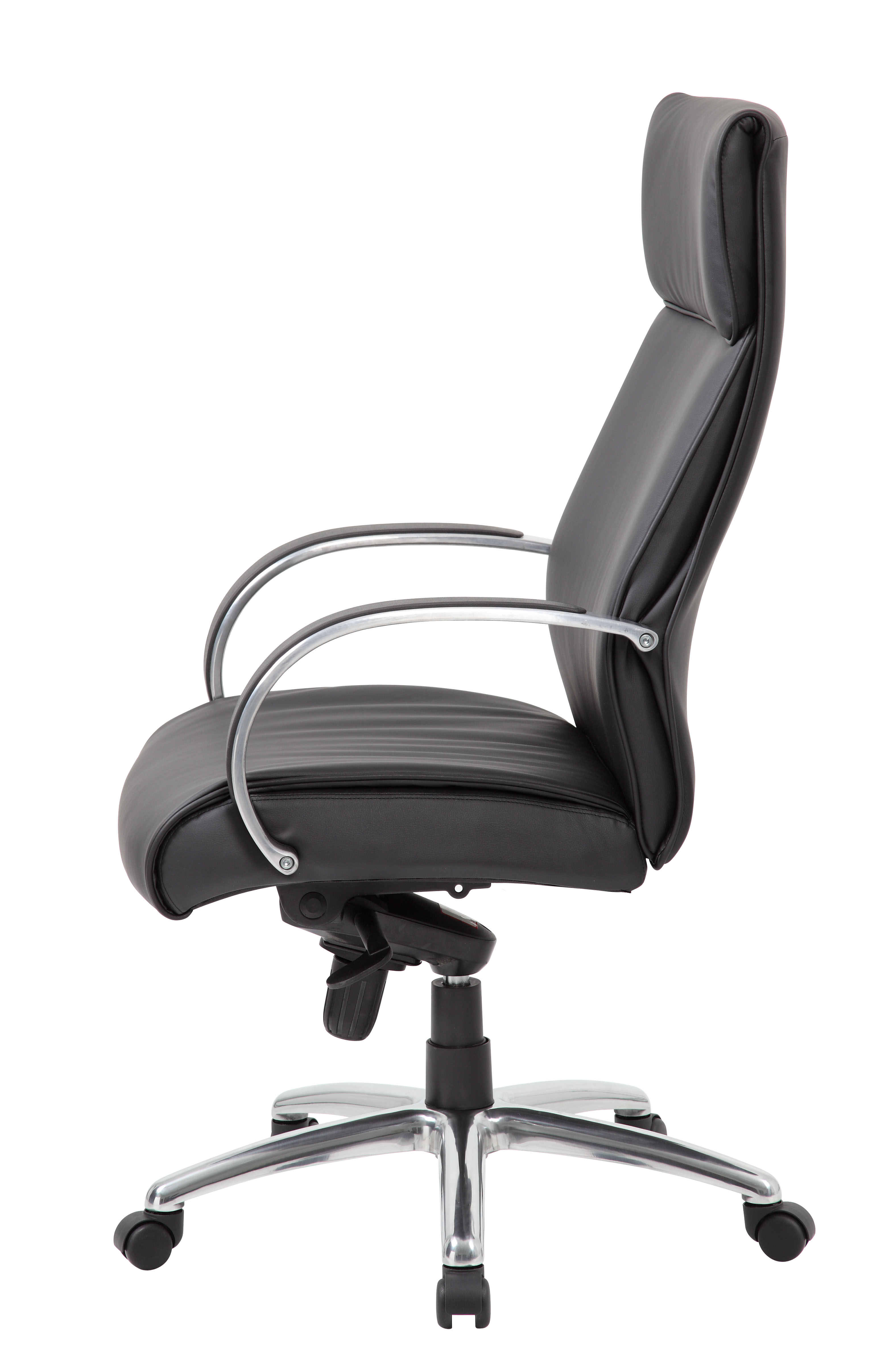 Boss High Back Executive Chair / Aluminum Finish / Black Upholstery ...