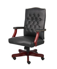 Boss Classic Black Caressoft Chair With Mahogany Finish