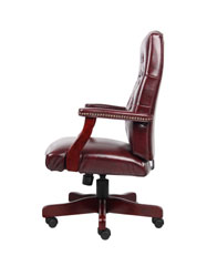 Boss Classic Oxblood Caressoft Chair With Mahogany Finish