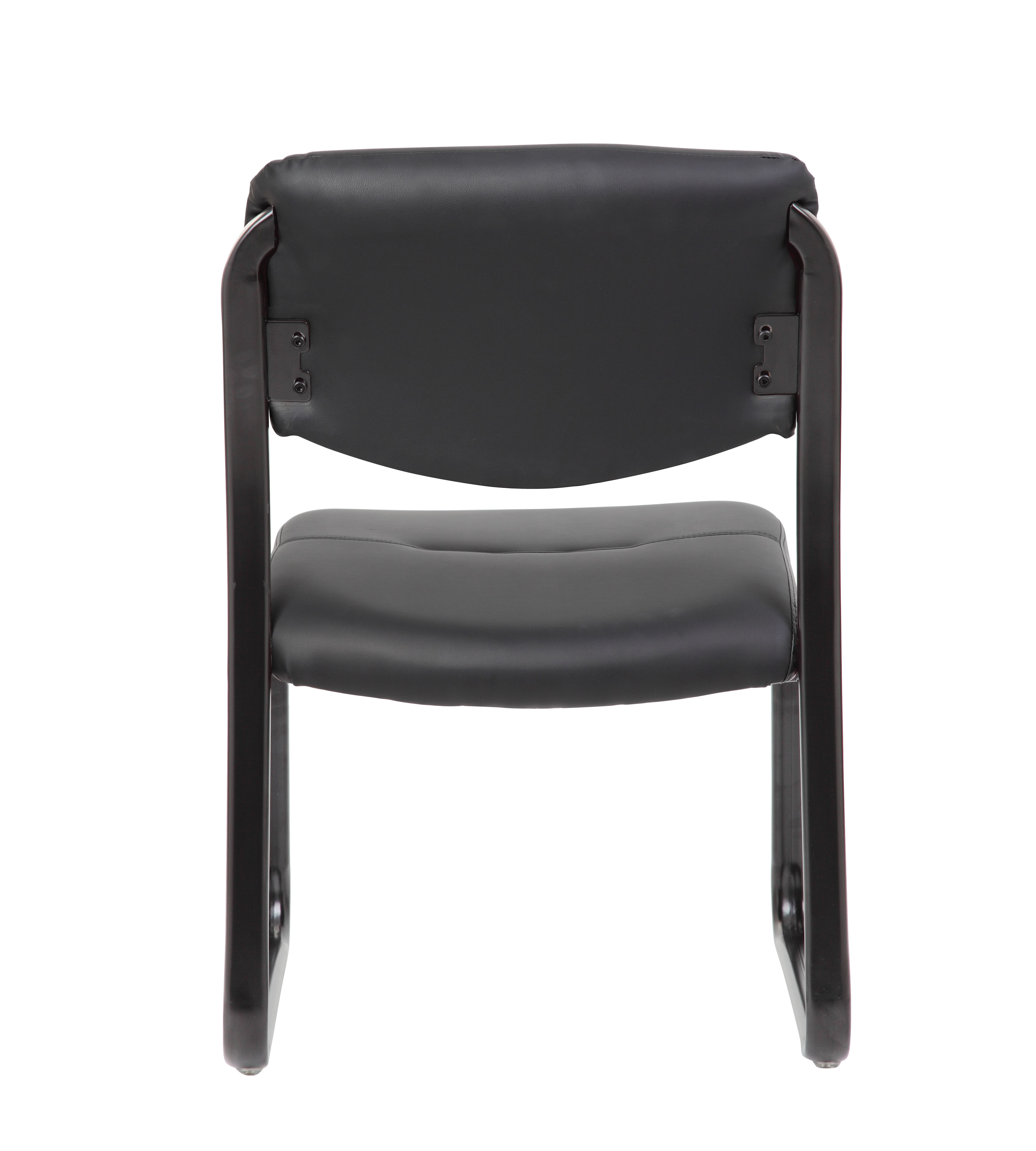 Boss Chairs Boss Leather Sled Base Side Chair w//Arms