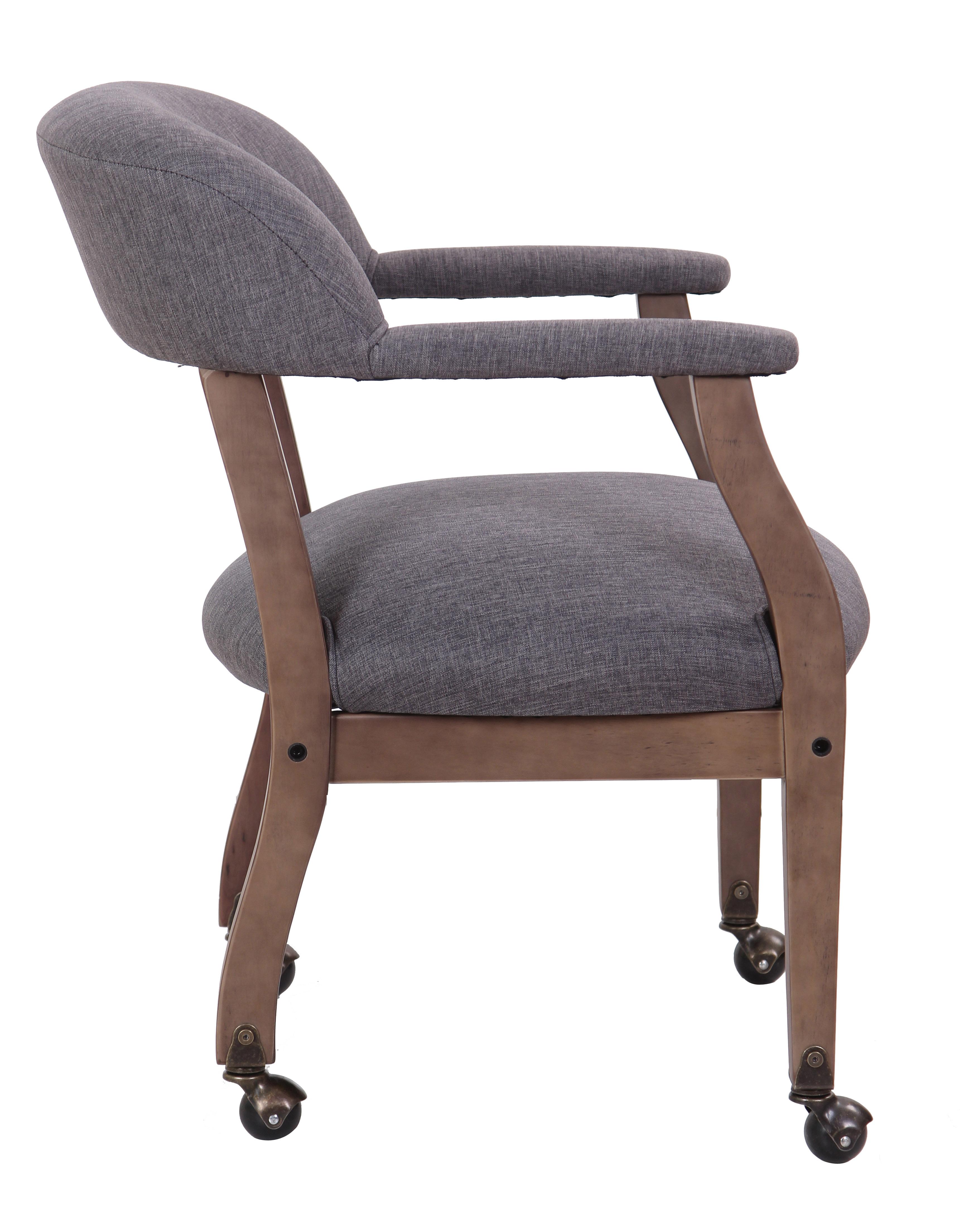 Boss Modern Captain s Chair in Slate Grade mercial Grade Linen
