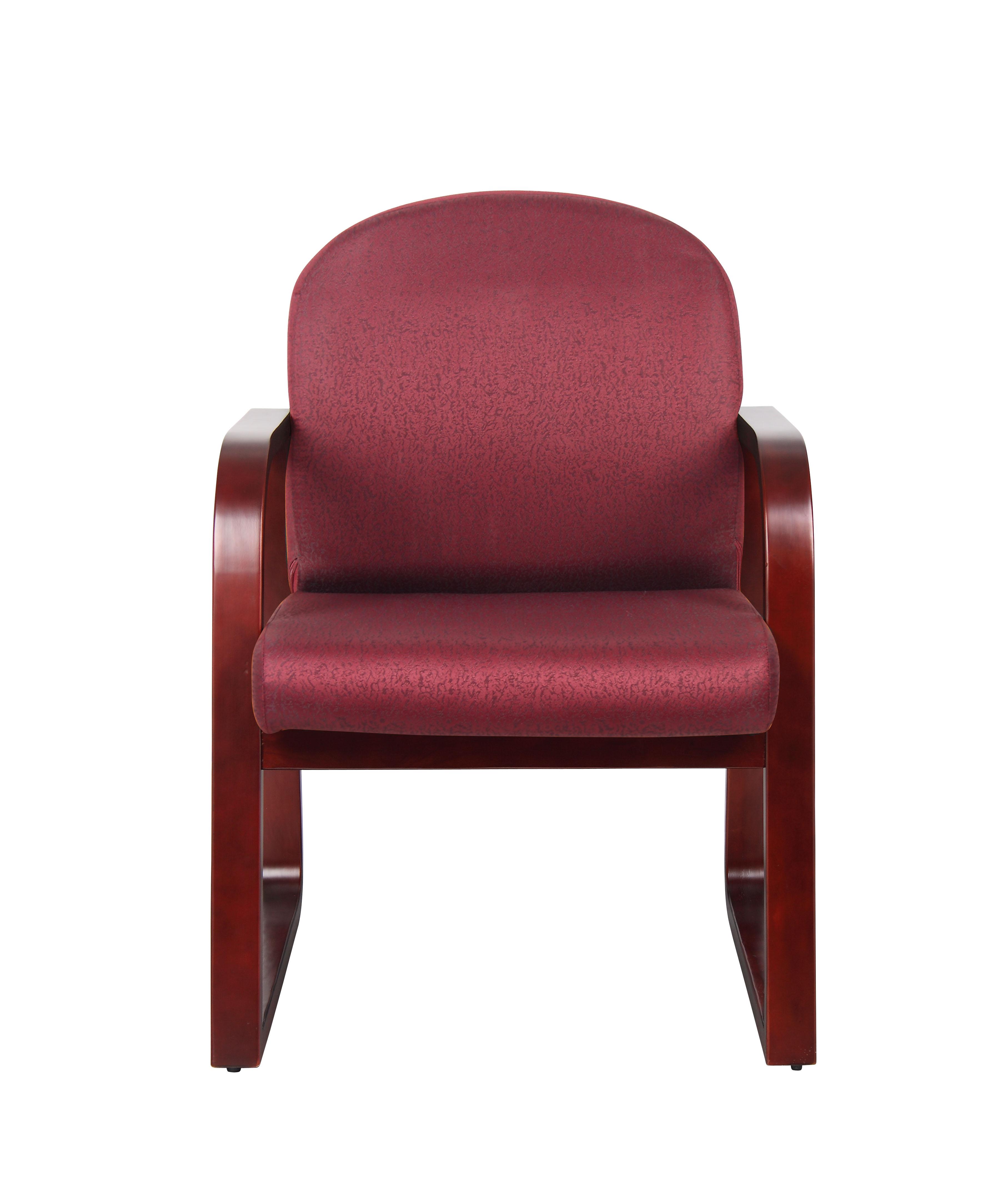 Boss Mahogany Frame Side Chair In Burgundy Fabric – BossChair
