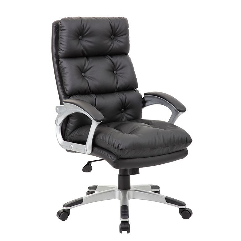 Genial Boss Executive Button Tufted High Back LeatherPlus Chair