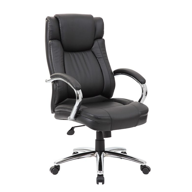 Genial Boss High Back LeatherPlus Exec. Chair W/ Chrome Base