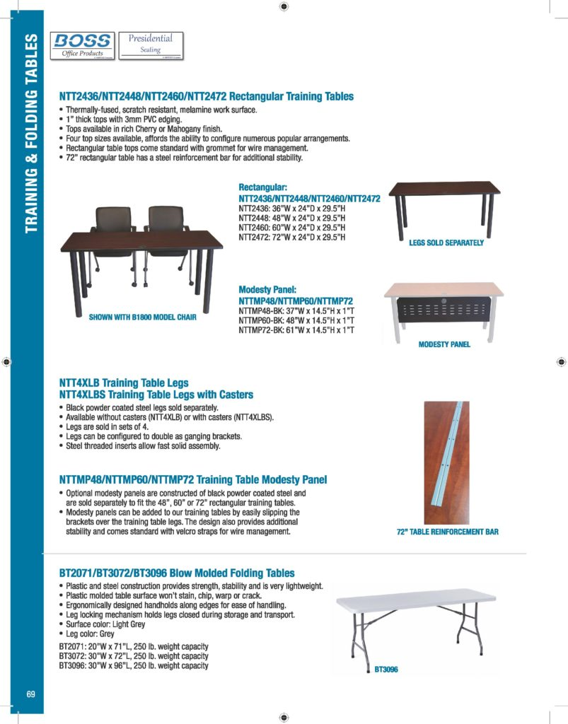 Catalog BossChair - Training table sizes