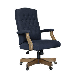BOSS Executive Denim Blue Commercial Grade Linen Chair With Driftwood  Finish Frame