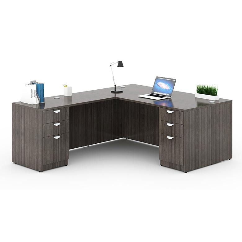 reputable site 6c5ca e1cab Boss Holland Series 71 Inch Executive L-Shape Corner Desk with Dual File  Storage Pedestals, Driftwood