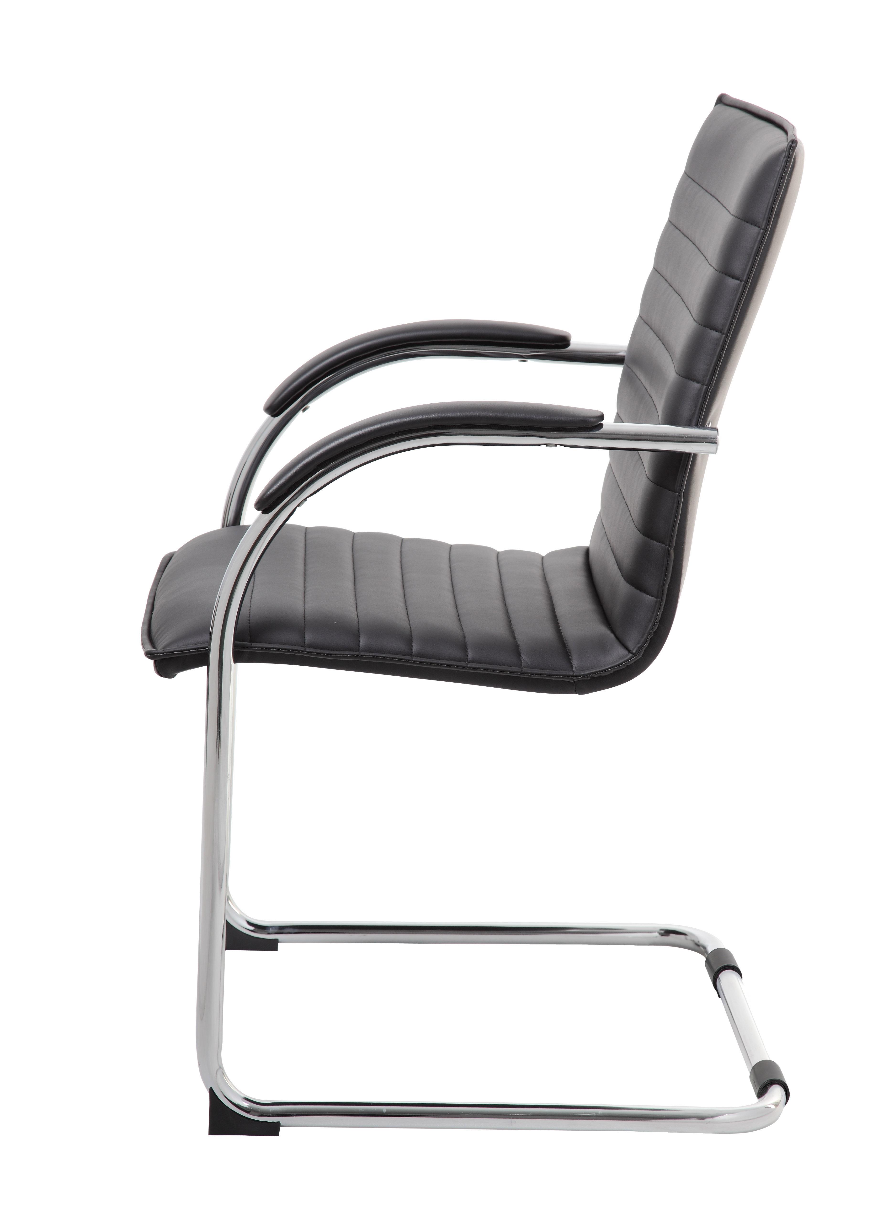 Boss Chrome Frame Black Vinyl Side Chair Set Of 2