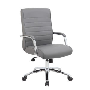 Boss Modern Executive Conference Chair Ribbed Grey
