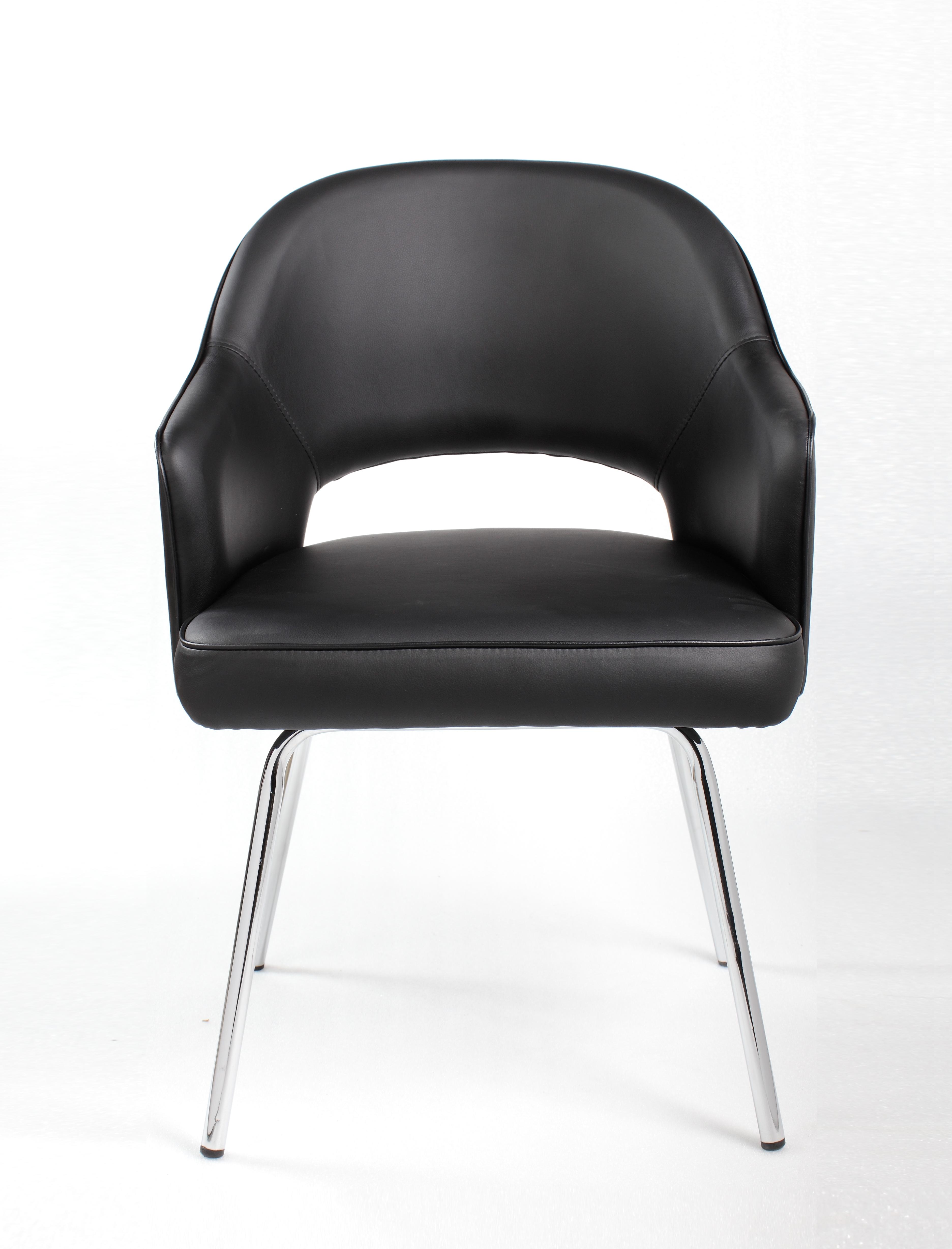 Boss Black Vinyl Guest Chair