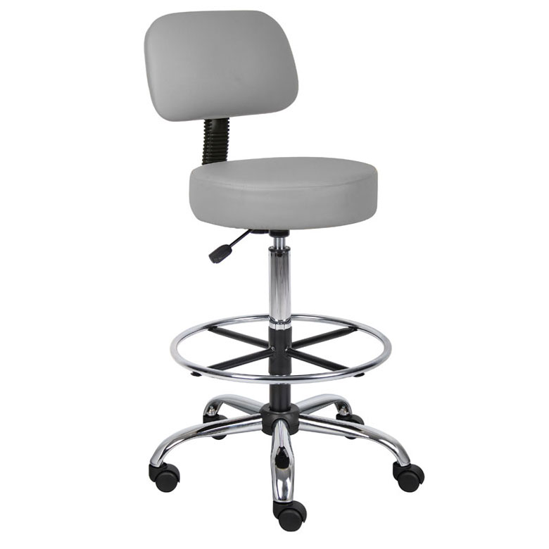 Boss Be Well Medical Spa Professional Adjule Drafting Stool With Back And Removable Foot Rest Grey