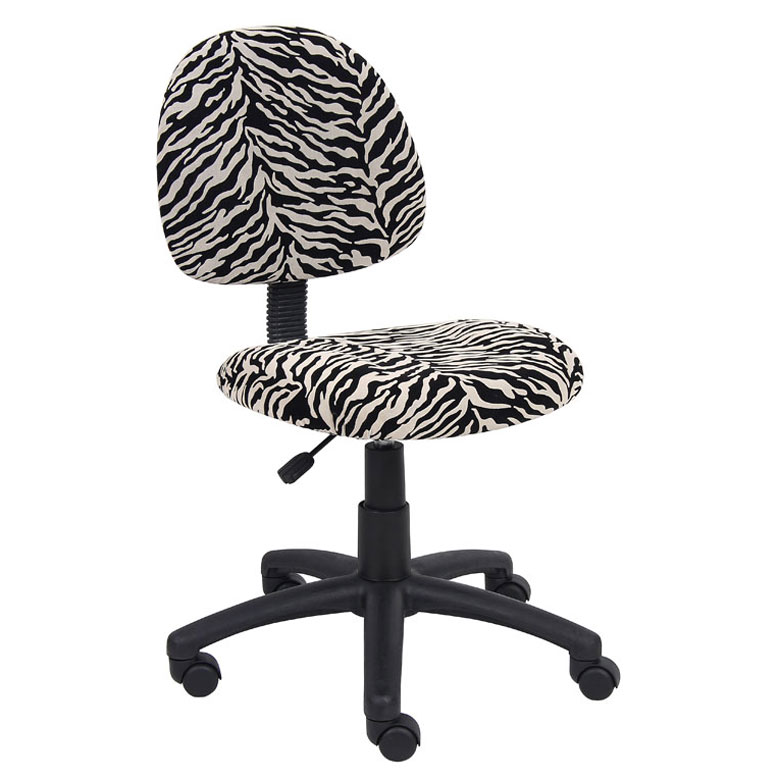 Boss Perfect Posture Deluxe Modern Microfiber Home Office Chair Without Arms Zebra