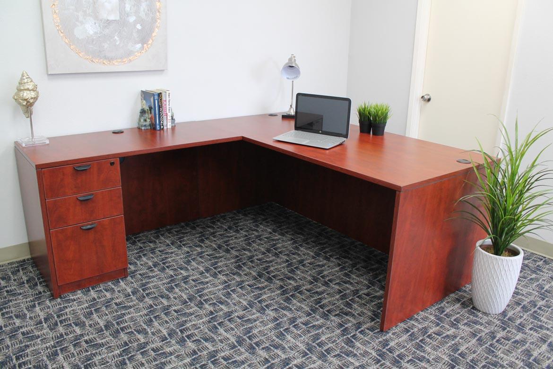 Boss Holland Series 71 Inch Executive L Shape Corner Desk With File Storage Pedestal Cherry