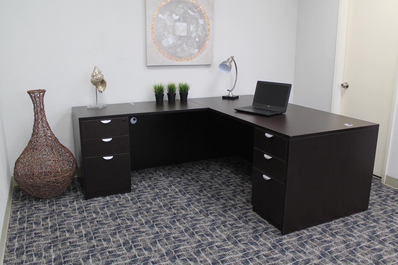 Boss Holland Series 71 Inch Executive L Shape Corner Desk With Dual File Storage Pedestals Mocha