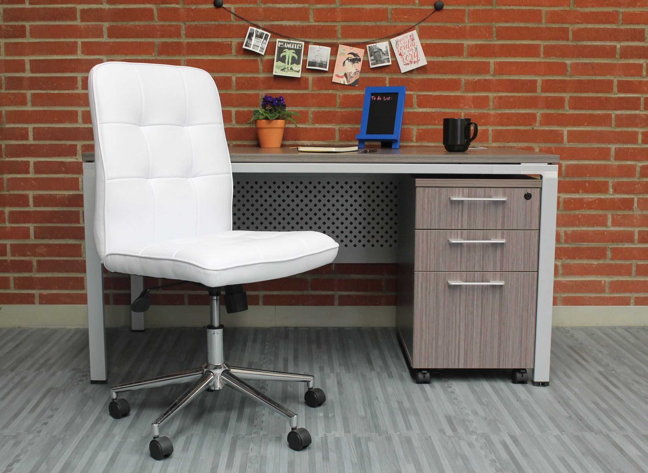 Boss Millennial Modern Home Office Chair White Bosschair